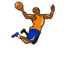 Basketball Player Dunking Ball Cartoon Photographic Print