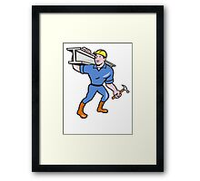Construction Steel Worker Carry I-Beam Cartoon Framed Print