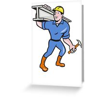 Construction Steel Worker Carry I-Beam Cartoon Greeting Card