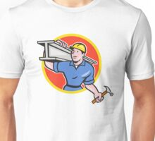 Construction Steel Worker Carry I-Beam Circle Cartoon Unisex T-Shirt