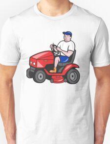 Gardener Mowing Rideon Lawn Mower Cartoon Unisex T-Shirt