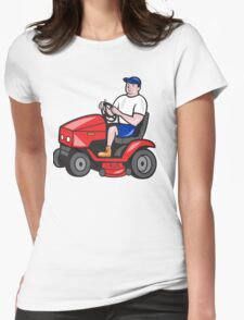 Gardener Mowing Rideon Lawn Mower Cartoon Womens Fitted T-Shirt