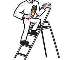 House Painter Standing on Ladder Cartoon by patrimonio