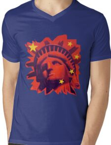 Red Liberty (cut out) Mens V-Neck T-Shirt