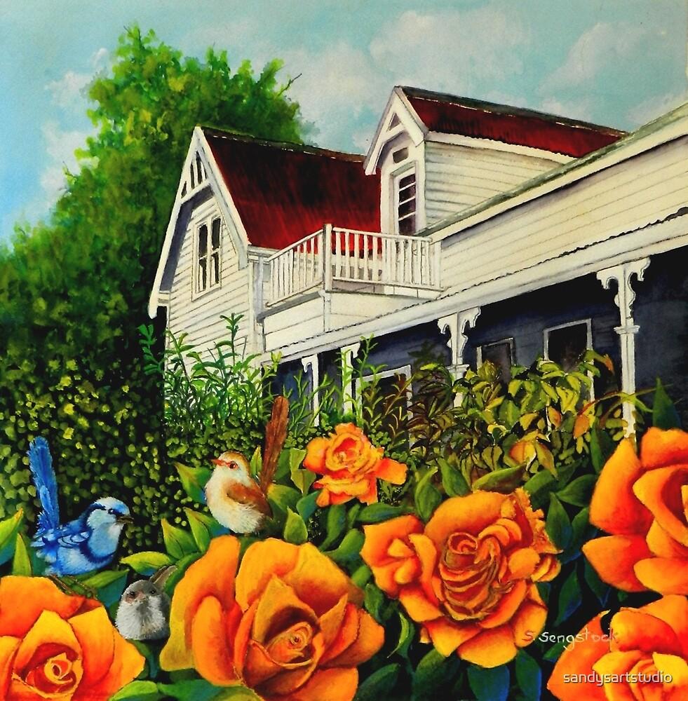 The rose gardens. Franklin Tasmania by sandysartstudio