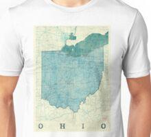 Ohio Map Blue Vintage Unisex T-Shirt