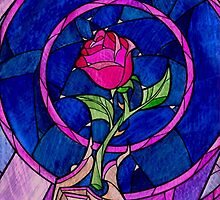 Beauty and the Beast Stain Glass Rose Case by M Put