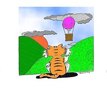 """Cartoon Cat """"Waving at Clouds""""  by Pittstop"""