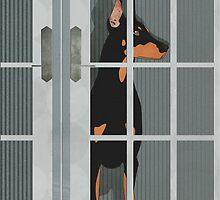 Guard Dog Doberman Pinscher by Janet Carlson