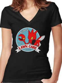 Scizor's Lawn Care Black Shirt Women's Fitted V-Neck T-Shirt