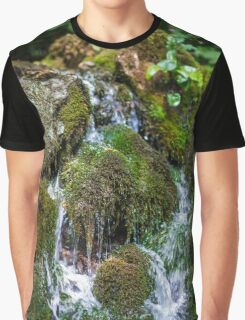 Mountain creek flowing through mossy boulders Graphic T-Shirt