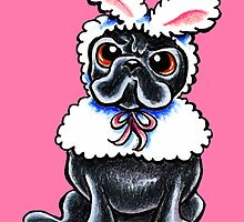 Grumpy Pug Bunny Pink by offleashart