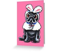 Grumpy Pug Bunny Pink Greeting Card