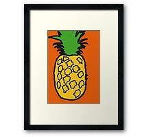 Pineapple pop orange print Framed Print