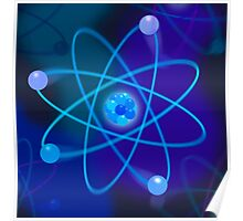 Vibrant Blue Atomic Structure Poster