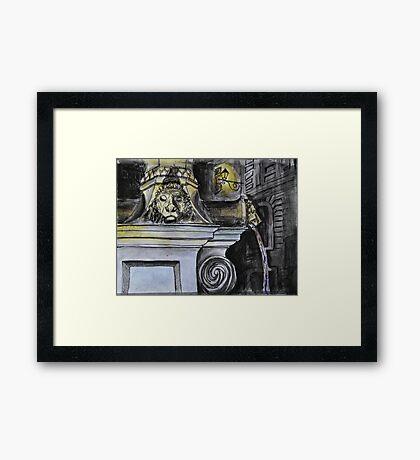 Watercolor Sketch - The Fountain of Place du Grand-Mézel, Genève. 2014 Framed Print
