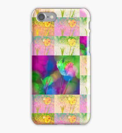 Happy Spring Tulips Flower Collage iPhone Case/Skin