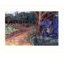 Lying In Wait - Dragon and Maiden Art Print