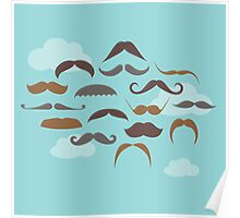 Vector Mustaches Floating in the Sky Poster