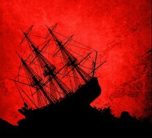 Red Storm Tossed Ship by Elantris