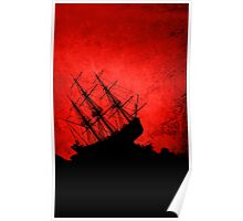 Red Storm Tossed Ship Poster