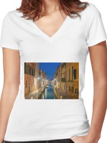 Canal in Venice Women's Fitted V-Neck T-Shirt