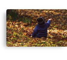 """""""Parker in the Autumn Leaves """" Canvas Print"""
