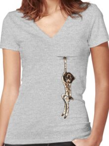 Clingy German Shorthaired Pointer Women's Fitted V-Neck T-Shirt