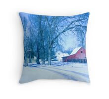 MY FAVORITE BARN IN THE SNOW Throw Pillow