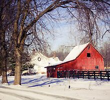 PRETTY RED BARN IN WINTER by Pauline Evans