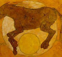 RUNNING HORSE YELLOW BALL by dkatiepowellart