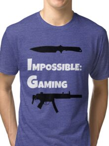 Impossible Gaming-WHITE FONT Tri-blend T-Shirt