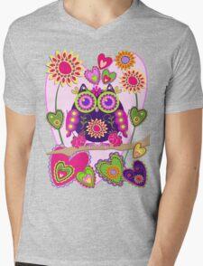 Flower power Owl in Love Mens V-Neck T-Shirt