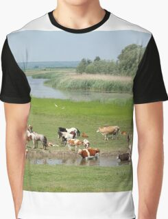 cows and horses on river Graphic T-Shirt