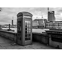 Black And White telephone Box Photographic Print