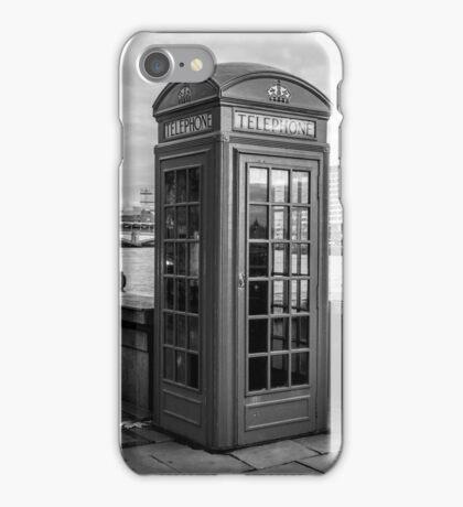 Black And White telephone Box iPhone Case/Skin