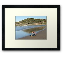 Looking for cockles, late afternoon. Evans Head, Razorback Mountain, N.S.W. north coast. Framed Print