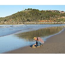 Looking for cockles, late afternoon. Evans Head, Razorback Mountain, N.S.W. north coast. Photographic Print