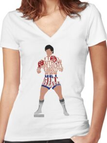 Rocky Balboa From Rocky Typography Quote Design Women's Fitted V-Neck T-Shirt