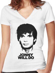 JONNY WILL DO Women's Fitted V-Neck T-Shirt