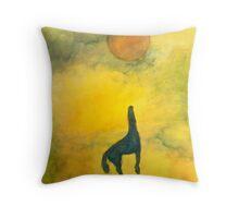 BLUE ASCENDING HORSE RED BALL Throw Pillow