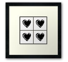 Black and White Pixel Hearts Framed Print
