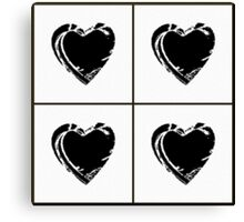 Black and White Pixel Hearts Canvas Print
