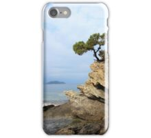 pine tree on a rock above the sea iPhone Case/Skin