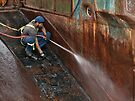 Working on a wet slippery rusty slope  by awefaul