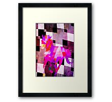 Modern Geometric Colorful Horse with Canvas Texture Framed Print