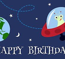 Cute alien i space with planet earth Happy Birthday card by MheaDesign