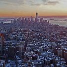New York sun set snow by Mark Walker