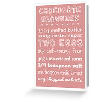 Chocolate Brownies Recipe Greetings Card Greeting Card