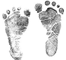 Baby Footprints. Adorable Baby Feet Perfect For New Baby Boy or Baby Girl by digitaleclectic